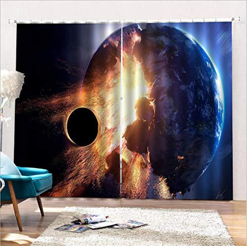 Wegji New Black Planet 3D Digitaldruck Verdunkelungsvorhang 166X150Cm