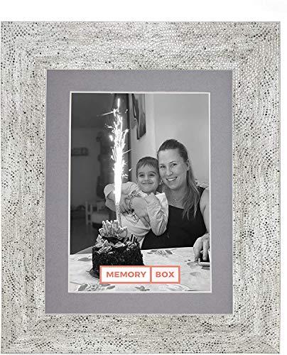 Gamma mediterranea Cornice per immagini/foto/poster con Vero Vetro - A3 per foto di A4 con supporto - Bianco anticato con passepartout Grigio