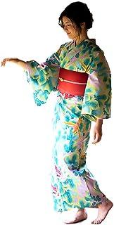 [ KIMONOMACHI ] オリジナル 浴衣2点セット「薄ピンク 蔦と鳥」