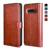 OCASE Galaxy S10 Hülle Handyhülle [Premium Leder] [Standfunktion] [Kartenfach] [Magnetverschluss] Schlanke Leder Brieftasche Hülle für Samsung Galaxy S10 Geräte Braun