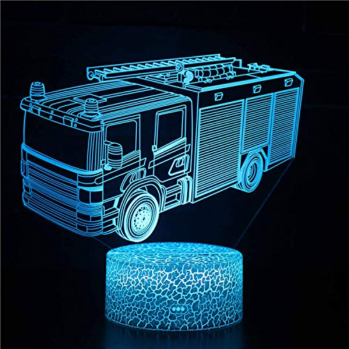Lámpara de ilusión 3D, regalo de Navidad, luz nocturna, camión de bomberos, 16 colores cambiantes con mando a distancia, regalo de cumpleaños y vacaciones para niños y niñas