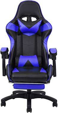 Gaming Chair with Footrest Adjustable Backrest Reclining Leather Office Chair Gaming Chair Desk Chair Executive Leather Computer Chair Lumbar Support with Office Chair (White) (Blue)