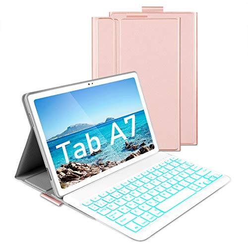 Jelly Comb Funda con Teclado España Ñ para Samsung Tab A7 10.4'' 2020, Teclado Bluetooth Desmontable Retroiluminación de 7 Colores, Estuche Protector para Samsung A7 10.4 (SM-T505/T500/T507), Oro Rosa