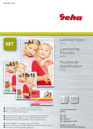 Geha 70093427 Fogli Laminati per Plastificatrice, 100 Pouches Dimensione A4 (217 x 303 mm), 80 Micron, 100 Pellicole