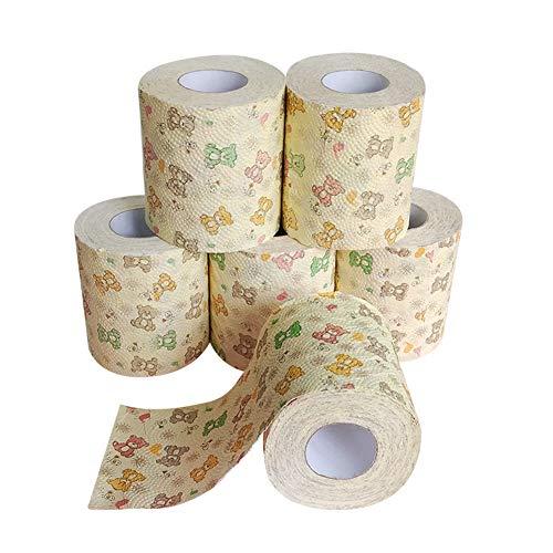 VKTY 6 Rollen Papierhandtuch, niedliche Cartoon-Rolle Papier Badezimmer Tissue Badetuch Toilettenpapier