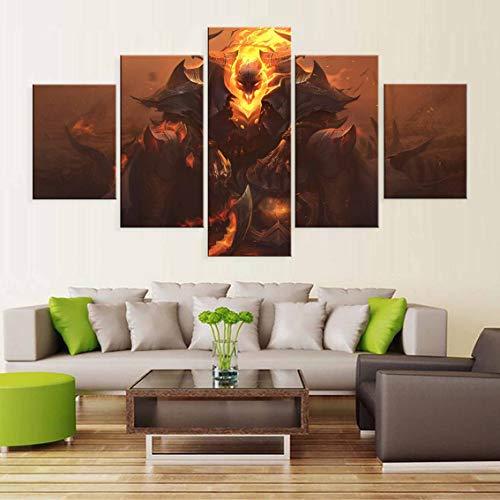 Lienzo 5 piezas Lol League Of Legends Thresh Game Pintura impresa Sala de estar Arte de la pared Decoración Imagen en HD Obras de arte Póster enmarcado 150x80cm