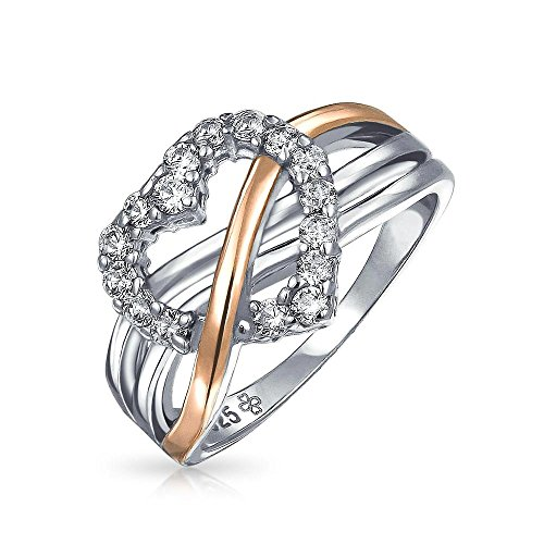 Two Tone Herzform Halo CZ Promise Ring für Frauen Criss Cross Band für Teen Rose Gold Plated 925 Sterling Silber