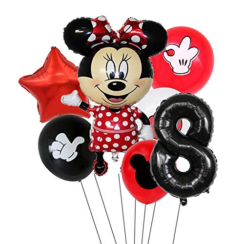 XIAOYAN Balloon 7pcs Disney Mickey Mouse Foil Balloons Set Boys &Girls Birthday Party Decoration Baby Shower Party 32inch Black Numbers Balloon ( Color : Minnie8 )
