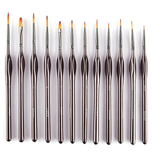 Newwiee - 12 pinceles multifuncionales para pintura al detalle, pinceles, pintura rugosa, acrílica, acuarela, kit de suministros de arte al óleo