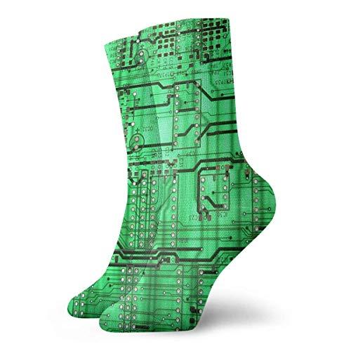 ouyjian Calcetines deportivos cortos de tobillo Placa de circuito verde Vestido informal antideslizante Unisex Media de barco para hombres Mujeres corriendo
