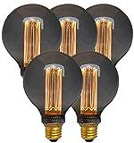 【5個セット】E26 エジソンバルブ LED電球 ノスタルジア 明るいタイプ (GLOBEグレー) 5個セット 10W相当 電球色 裸電球 エジソン電球