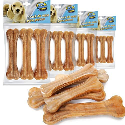 BPS - 5096 Buena Pet Shop Hueso Prensado para Perros Piel Vacuno Fortalecedor de Dientes Stick Dental Dog Snack 11.5 cm, 12 Pcs (pack de 3 unidades x 4)