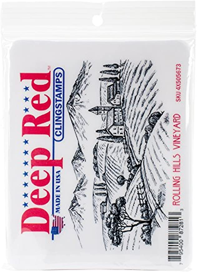 Deep Red Stamps Rolling Hills Vineyard Deep Red Cling Stamp 4.1