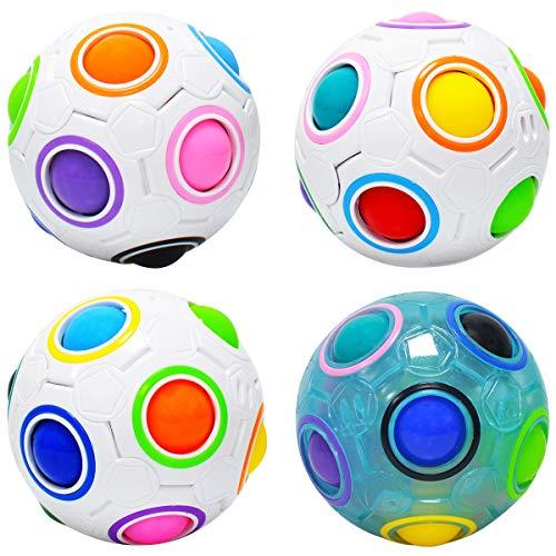lunaoo Magic Ball, Rainbow Puzzle Ball Würfel, 4 Stück Magie Regenbogen Ball Spielzeug für Kinder