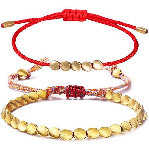 REYOK 2 Pcs Pulsera de Cuentas de Cobre Tibetano Pulsera de Nudo Afortunado Budista Hecho a Mano con Cordón Rojo Ajustable para Unisex y Ajustable