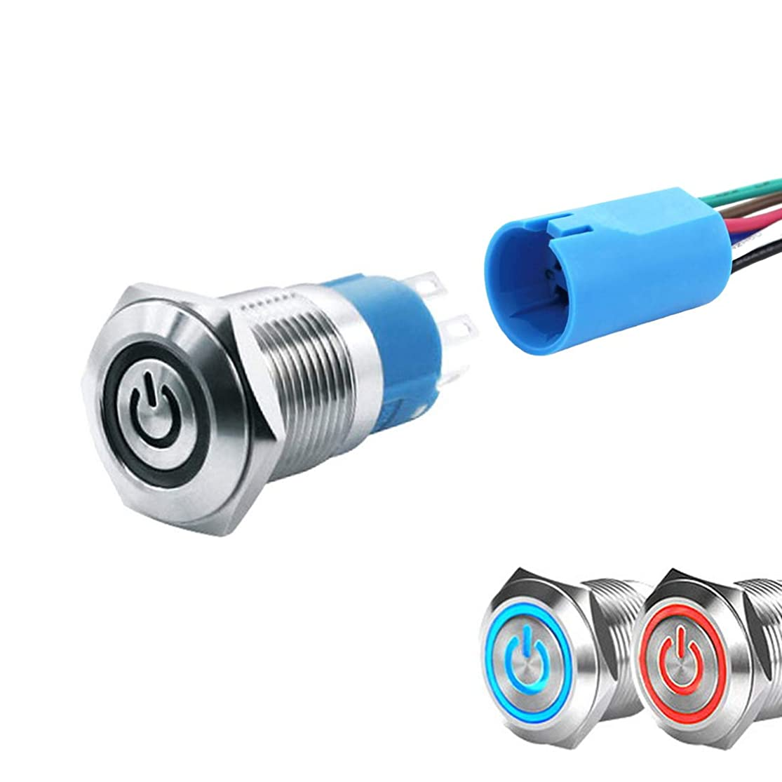 WerFamily 2 Colors Red Blue Power Indicator LED 16mm Latching Push Button Switch 1NO 1NC SPDT ON/OFF Waterproof Metal Round with Wire Socket Plug shzbbxaj5