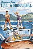 Lake Winnipesaukee, New Hampshire - Water Skiing Scene (9x12 Art Print, Wall Decor Travel Poster)