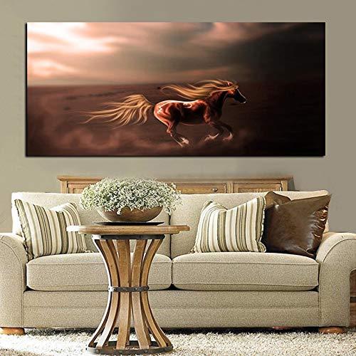 Pintura sin Marco Europea de Gran tamaño Galope Pintura al óleo Lienzo HD Moderno Arte de la Pared Sala de Estar sofá decoración del hogar ZGQ6067 50X100cm