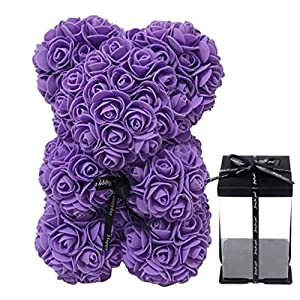 Silk Flower Arrangements Wasatuo Rose Flower Bear - 10 inch Teddy Bear - Artificial Flowers - Gift for Mothers Day, Valentines Day, Anniversary & Bridal Showers - w/Clear Gift Box (Purple)