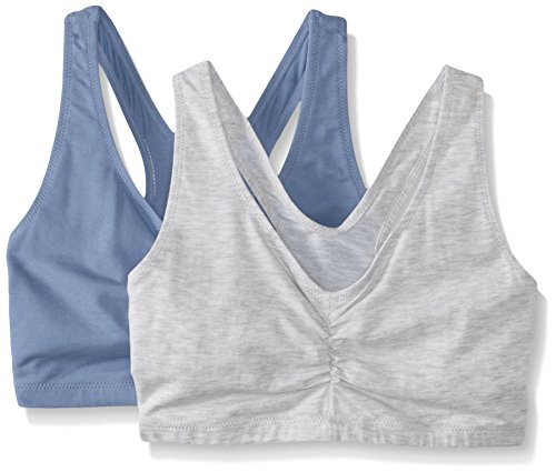 Hanes Women's Comfort-Blend Flex Fit Pullover Bra (Pack of 2),Heather Grey/Denim Blue Heather,Large