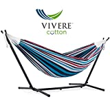 Vivere UHSDO8-12 Hamac Double avec Support Denim 250 x109 x 104 cm