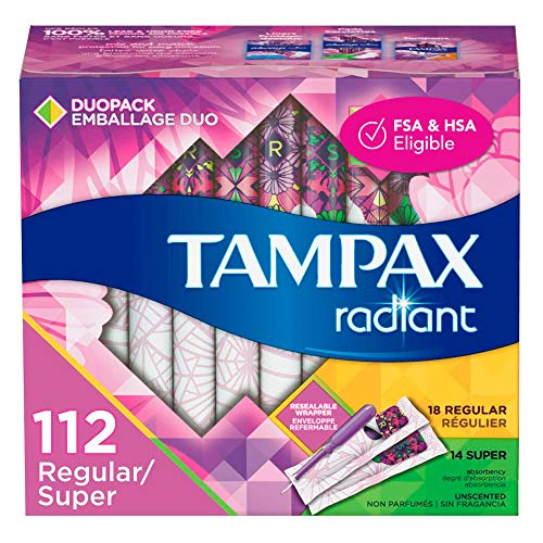 Tampax Radiant Plastic Tampons Regular/Super Absorbency Duopack 112 Count Unscented 28 Count Pack of 4