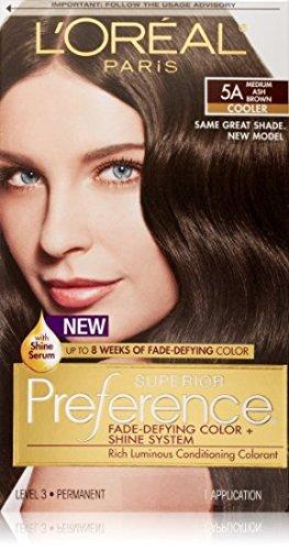 L'Oreal Paris Superior Preference Fade-Defying Color + Shine System 5A Medium Ash Brown Permanent Hair Color