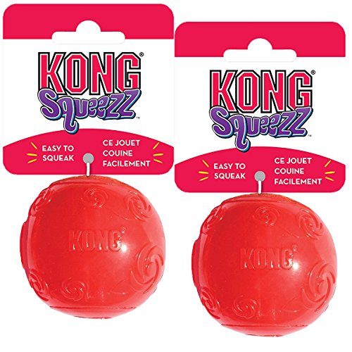 KONG Squeezz Ball Dog Toy, Medium, 2 Pack, Colors Vary Air Kong Squeaker Dumbell
