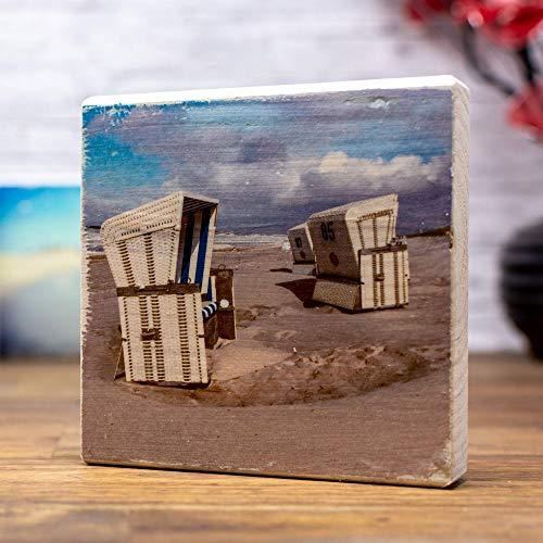 elbPLANKE® Holzbild - Standzeit (Sylt) 10x10 cm - Zum Hinstellen/Aufhängen, echter Fototransfer auf Holz - Wand-Bild Aufsteller zur Dekoration Zuhause/Geschenk-Idee