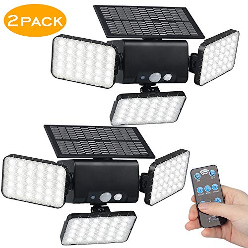 efiealls Solar Lights Outdoor, 3 Head 90 LEDs Outdoor Solar Security Lights 360 Rotable Remote Outdoor Solar Lights with Remote Control & 3 Lighting Modes for Porch Garden Patio Garage Path 2 Pack