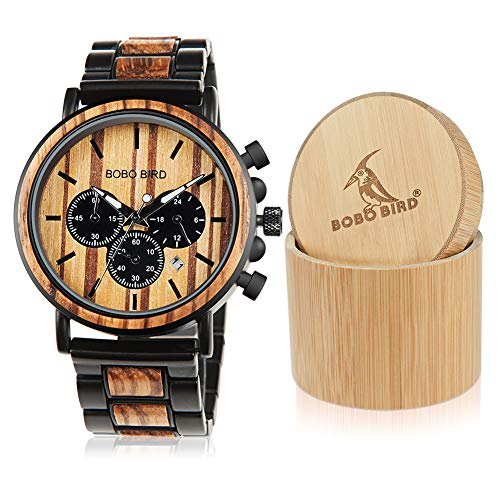 BOBO BIRD Wooden Mens Watches Large Size Stylish Wood & Stainless Steel Combined Chronograph...