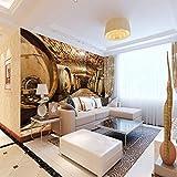 Fototapete Weinkeller 3D Murals Effekt Wandbild Vlies Tapete Moderne Wanddeko Schlafzimmer Wohnzimmer 300cm(W) x210cm(H)-6 Stripes