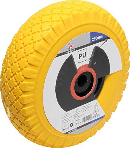 Kraftmann 80652 | Roue pour diable/chariot de transport | PU, jaune/noir | 260 mm