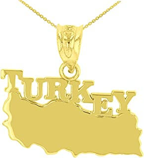 State Collection Fine 10k Yellow Gold Country Map of Turkey Pendant Necklace