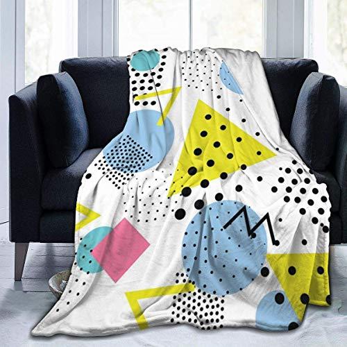 Manta de Lana con Puntos Redondos Triangulares, Manta Suave y cálida, Manta de Microfibra de Felpa Unisex para sofá, sofá