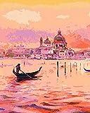 TYLPP Pintura al óleo DIY después de números adultos niños -Pink River - pintado a mano números pintura de l arte de la pared decoración de la casa juguetes pintura 16 × 50 pulgadas sin marco