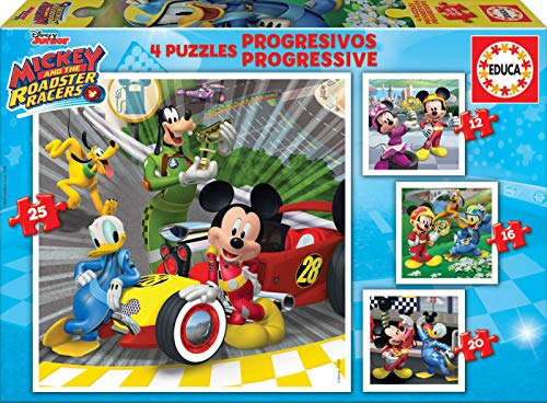 Educa Superpilotos Mickey And The Roadster Racers Puzzles Progresivos, 12+16+20+25 Piezas, multicolor (17629)
