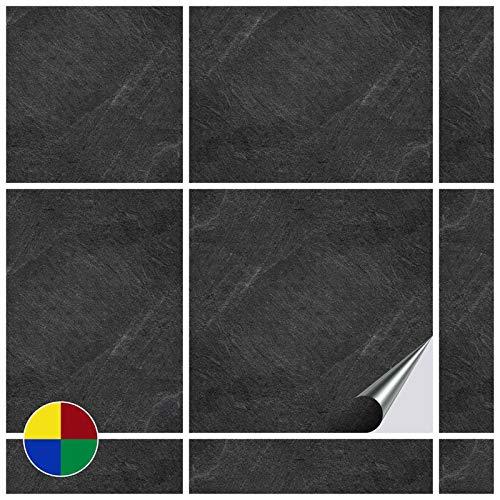 FoLIESEN Fliesenaufkleber für Bad und Küche - 15x15 cm - Dekor Black Slate - 80 Fliesensticker für Wandfliesen