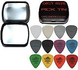 Dunlop Tortex - Set di 12 plettri standard e di nylon per chitarre, 1 plettro per ogni tipo, pratica scatola di latta in dotazione