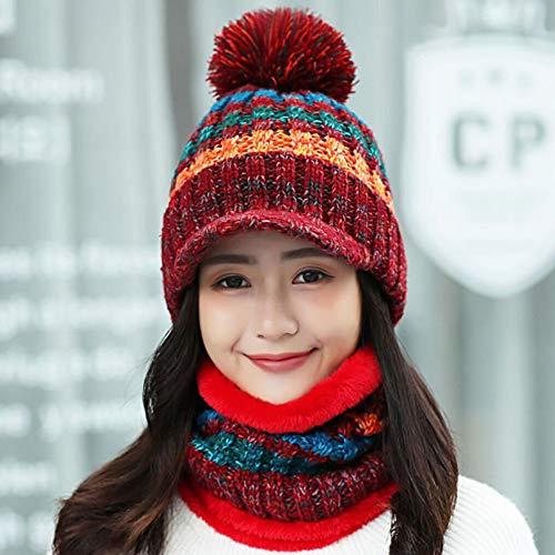 BGBG Sombrero de invierno de las mujeres de invierno sombrero bufanda conjunto vintage de punto señoras gorra de béisbol niña al aire libre cálido sombrero femenino sólido anillo bufanda