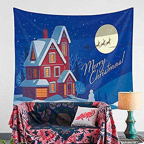 Wandtapijt,Huis sneeuw scène afdrukken wandtapijten voor thuis Xmas Party Festival Decor Gift mode grootte tafelkleed Bank deken Yoga Mat-150 × 130cm