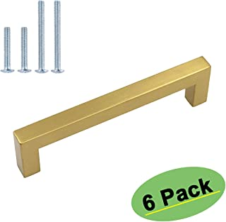 Kitchen Cabinet Handles Brushed Brass - homdiy 6 Pack 4in(102mm) Center to Center Cabinet Pulls HDJ12GD Gold Cabinet Hardware Vintage Drawer Pulls Drawer Handles