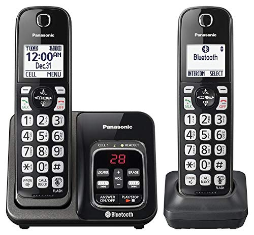 Panasonic KX-TGD562M Link2Cell Bluetooth Cordless Phone with Voice Assist and Answering Machine - 2 Handsets (Renewed)
