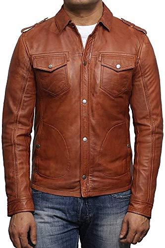BRANDSLOCK Veste de Motard en Cuir pour Homme délavé rétro Vintage Slim Fit Shirt Jacket (Bronzer, 2XL)