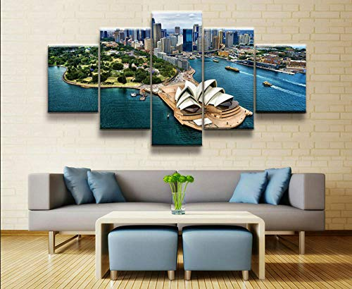 5 Piezas Cuadro sobre Lienzo De FotosVista del cielo moderno de la ciudad de Sydney natural Lienzo Impresión Cuadros Decoracion Salon Grandes Cuadros para Dormitorios Mural Pared Listo para Colgar