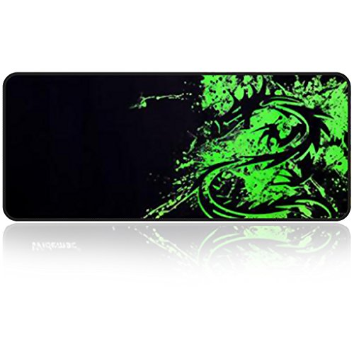 Large Gaming Mouse Pad with Edge Stitching|Extended XXL Size, Heavy|Thick, Comfy, Foldable Mat for Desktop, Laptop, Keyboard,31.5'x11.8'x0.15' Keyboard Pad Desk Pad by Qisan(Dragon)