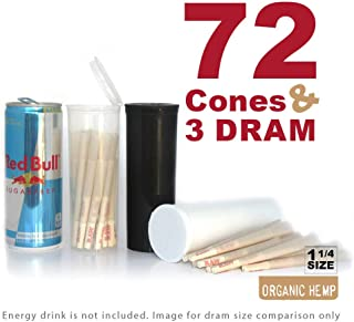 RAW Organic 1 1/4 Cones in 60 Dram Pop Tops   72 Pre Rolls with Tips in 3 Dram Bottles   Rolling Papers Made with All Natural Fibers with Resusable BPA-Free Dram Container Vial