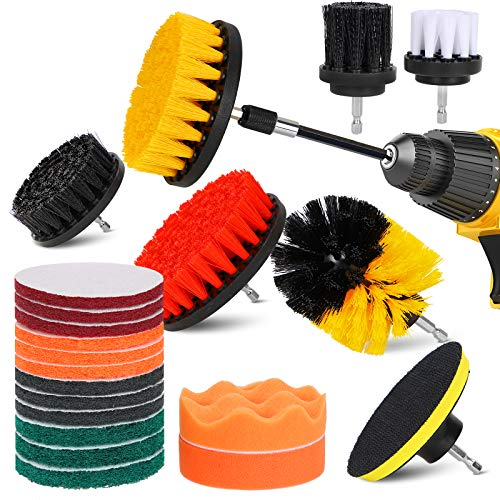 22 Pieces Drill Brush Attachment Set, Power Scrubber Drill Brush Pad Sponge Kit with Extend Attachment, Car Polishing Pad Kit, Scrub Brush Cleaning Kit for Bathroom, Car, Sinks, Floor, Kitchen, Carpet