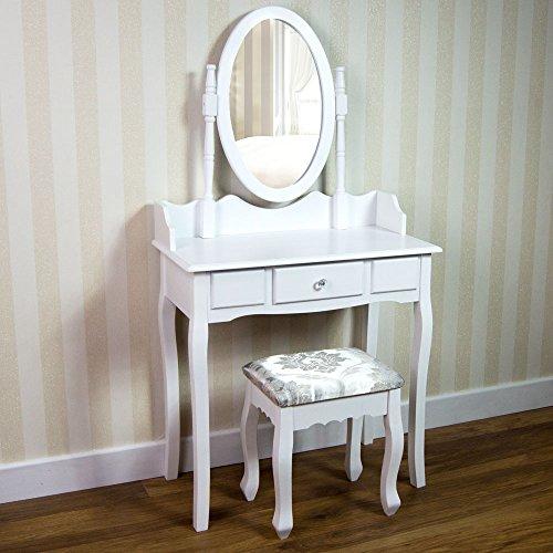 Home Discount nishano tocador con Taburete 1cajón Oval Ajustable Espejo Juego de Muebles para Dormitorio Maquillaje cosméticos aparador Muebles, Color Blanco