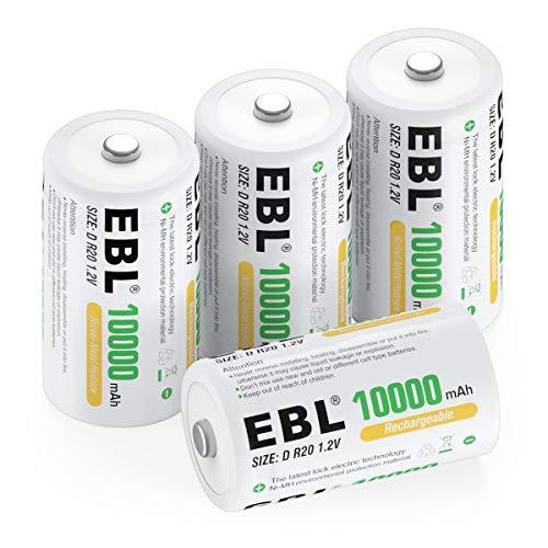 EBL D Akku 10000mAh, Wiederaufladbare C Zelle NI-MH Batterie 4 Stück mit Aufbewahrungsbox, Mono D Akku